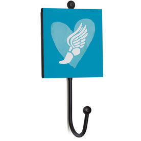 Track and Field Medal Hook - Watercolor Heart Winged Foot