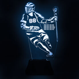 Guys Lacrosse Acrylic LED Lamp Player With 5 Lines