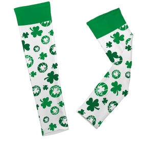 Basketball Printed Arm Sleeves Shamrock All Over Pattern With Basketballs