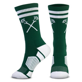 Guys Lacrosse Woven Mid-Calf Socks - Retro Crossed Sticks (Green/White)