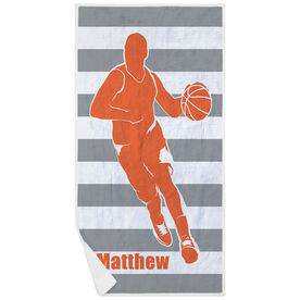 Basketball Premium Beach Towel - Stripes with Guy Silhouette