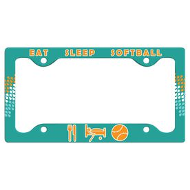 Eat Sleep Softball License Plate Holder