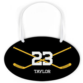 Hockey Oval Sign - Personalized Hockey Crossed Sticks