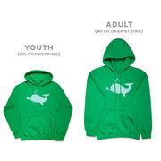Girls Lacrosse Hooded Sweatshirt - Chevron Lax Whale