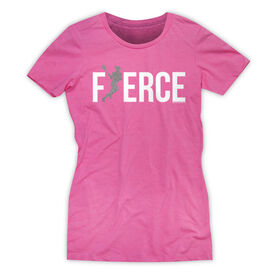 Girls Lacrosse Women's Everyday Tee - Fierce Lacrosse Girl with Silver Glitter