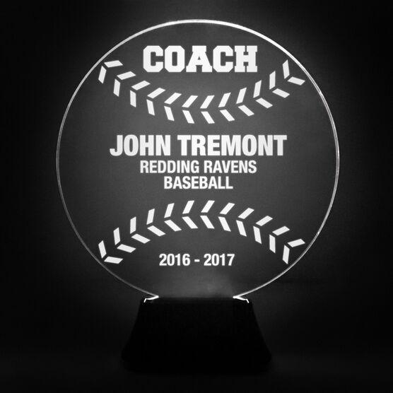 Baseball Acrylic LED Lamp Coach With 4 Lines