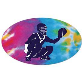 Softball Oval Car Magnet Tie Dye Catcher