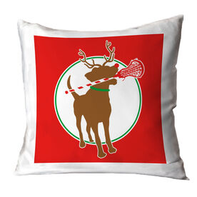 Girls Lacrosse Throw Pillow Jingles the Reindeer Lax Dog