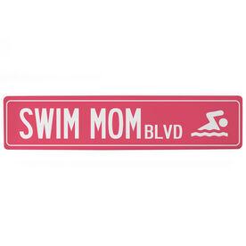 """Swimming Aluminum Room Sign - Swim Mom Blvd (4""""x18"""")"""