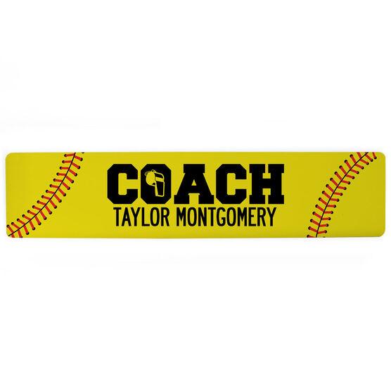 """Softball Aluminum Room Sign - Coach Softball (4""""x18"""")"""