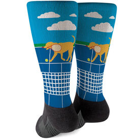 Tennis Printed Mid-Calf Socks - Dennis The Tennis Dog