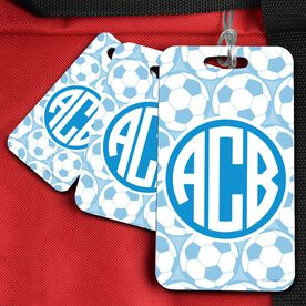Soccer Bag/Luggage Tag Monogram with Soccer Ball Pattern