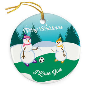Soccer Porcelain Ornament Kickoff Snowman Mom