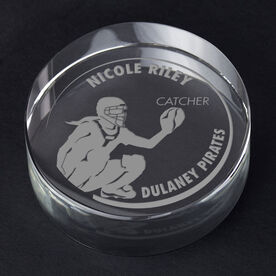 Softball Personalized Engraved Crystal Gift - Customized Catcher