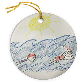 Swimming Porcelain Ornament Your Artwork Here