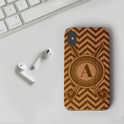 Field Hockey Engraved Wood IPhone® Case - Personalized With Crossed Sticks and Chevron