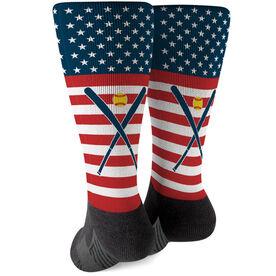 Softball Printed Mid-Calf Socks - USA Stars and Stripes