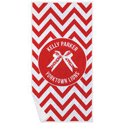 Cheerleading Premium Beach Towel - Personalized Bow with Chevron