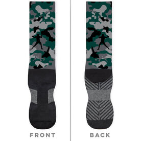 Football Printed Mid-Calf Socks - Camo