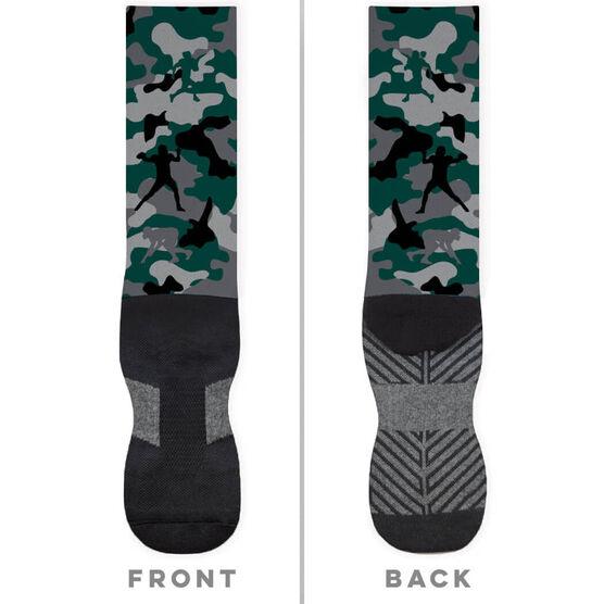 Football Printed Mid-Calf Socks - Camo