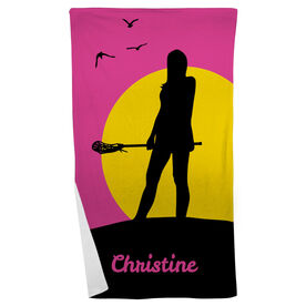 Lacrosse Beach Towel Personalized Sunset Lax Girl