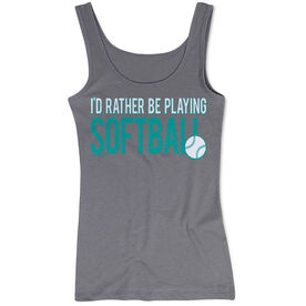 Softball Women's Athletic Tank Top I'd Rather Be Playing Softball