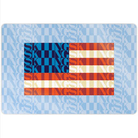 "Skiing 18"" X 12"" Aluminum Room Sign - American Flag Mosaic"