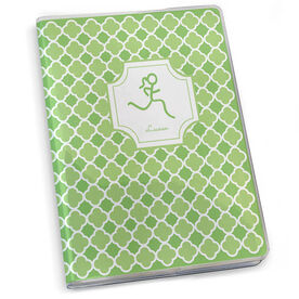 GoneForaRun Running Journal - Runner Girl Stick Figure With Quatrefoil