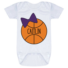 Basketball Baby One-Piece - Personalized Basketball Bow