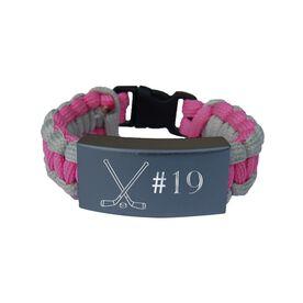 Hockey Paracord Engraved Bracelet - Crossed Sticks with Number/Pink
