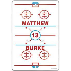 "Hockey Aluminum Room Sign (18""x12"") Personalized Ice Hockey Rink"
