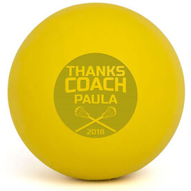 Personalized Engraved Lacrosse Ball Thanks Coach Cutout (Yellow Ball)