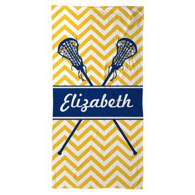 Girls Lacrosse Beach Towel Personalized Girls Lacrosse Sticks Chevron
