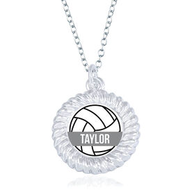 Volleyball Braided Circle Necklace - Ball With Name