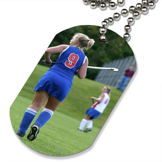 Custom Field Hockey Photo Printed Dog Tag Necklace
