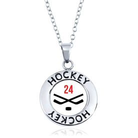 Hockey Circle Necklace - Crossed Sticks With Number