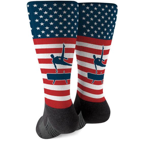 Gymnastics Printed Mid-Calf Socks - USA Stars and Stripes (Guy Gymnast)
