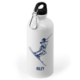 Skiing 20 oz. Stainless Steel Water Bottle - Skier Silhouette