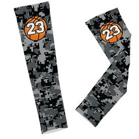 Basketball Printed Arm Sleeves Digital Camo with Basketball Number