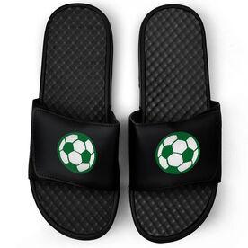 Soccer Black Slide Sandals - Soccer Ball