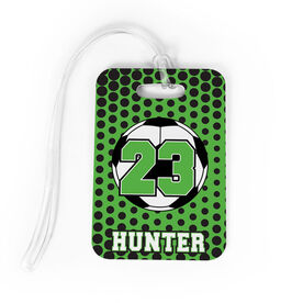 Soccer Bag/Luggage Tag - Personalized Soccer Ball with Dots Background