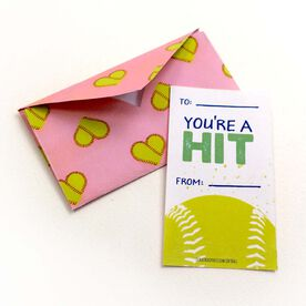 You're A Hit Softball Valentine's Day Card