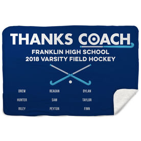 Field Hockey Sherpa Fleece Blanket - Thanks Coach (Horizontal)