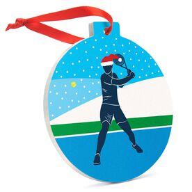 Tennis Round Ceramic Ornament - Guy Silhouette with Santa Hat