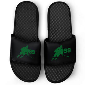 Hockey Black Slide Sandals - Hockey Rink Turn with Number
