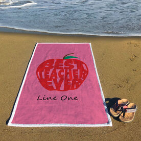 Personalized Premium Beach Towel - Best Teacher Ever Apple