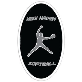 Softball Oval Car Magnet Personalized Pitcher
