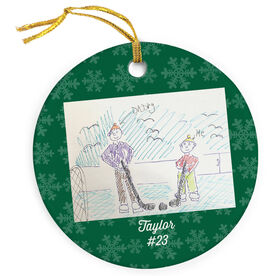 Hockey Porcelain Ornament Your Drawing With Personalization