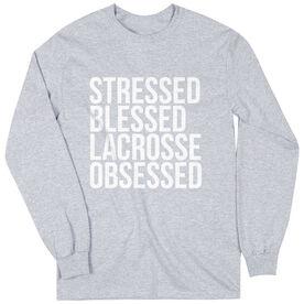 Lacrosse Long Sleeve Tee - Stressed Blessed Lacrosse Obsessed