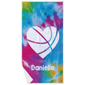 Basketball Premium Beach Towel - Personalized Tie Dye Pattern with Heart